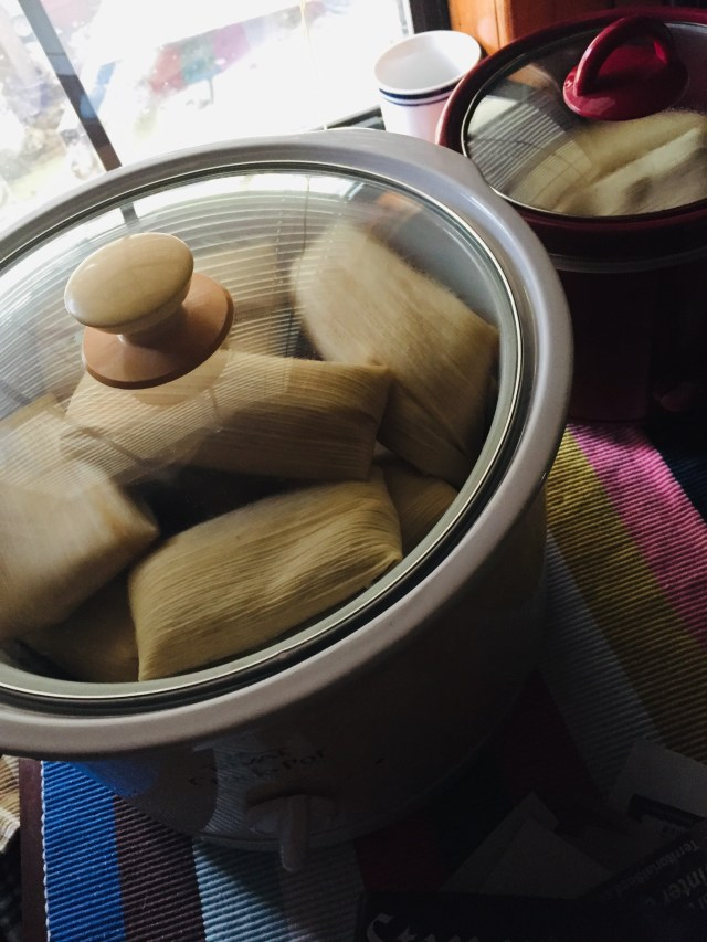 Chicken Tamales steaming in a 6-quart Crockpot