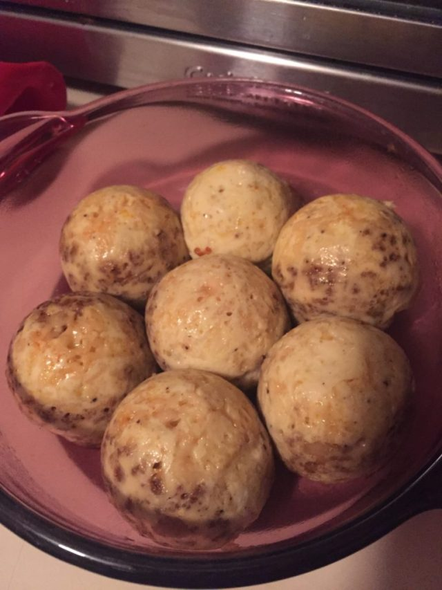 Cooked egg bites in red dish