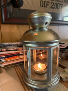 Tealight burning in Rotera lantern