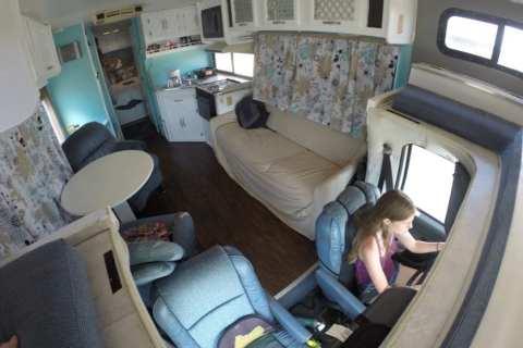 Alyssa driving our 1994 Coachmen RV