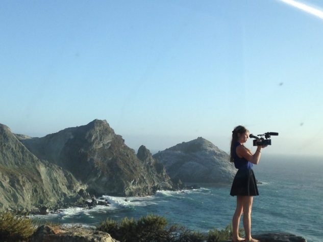 Alyssa filming while on the Pacific Coast Highway