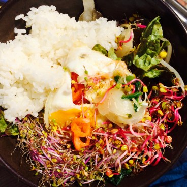 Sprouts Bibimbap - my favourite Korean food. It's basically a salad with an egg and rice.