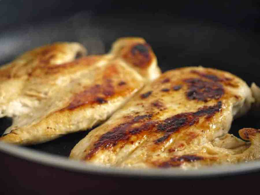 Chicken Leftovers: Chicken breasts in a frying pan.