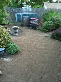 Garden path made of flattened dirt wanders through the garden.