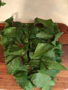 cut beet leaves for Beet Leaf Soup