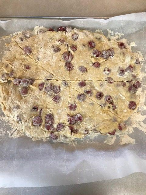 cut your cherry scone dough into 8 parts