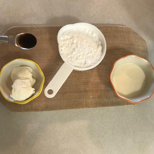powdered sugar, cream, vanilla, and cream cheese