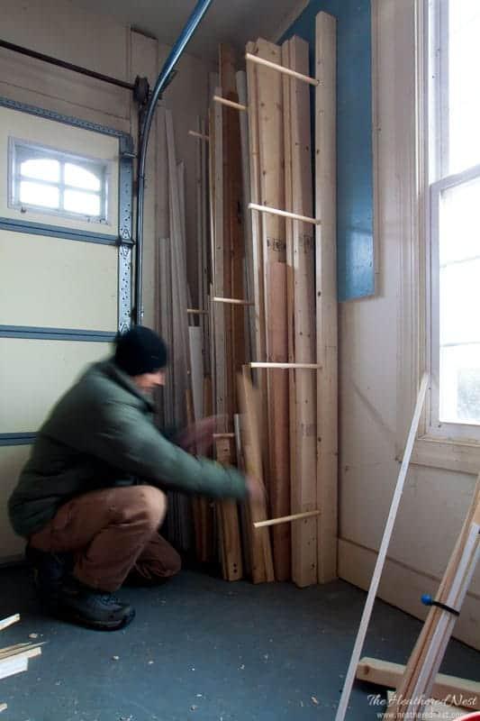 easy diy wood rack for storing lumber