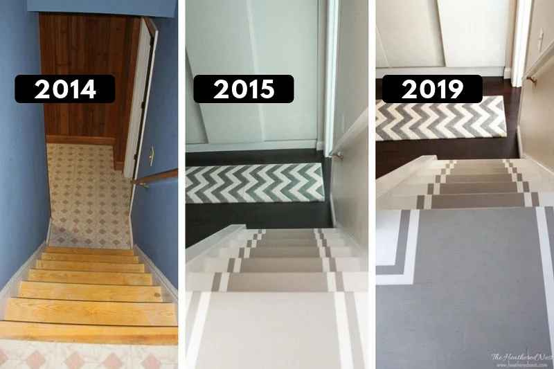 Painted Stair Treads Pros Cons Durability The Heathered Nest   Exterior Wood Stair Treads   Anti Slip   90 Degree   Step   Solid Stringer   Deck