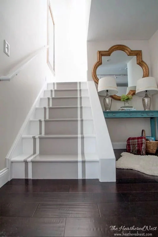 51 Diy Painted Stairs Projects That Are Amazing The Heathered Nest | Painted Stairs With Carpet | Middle | Design | Diamond Pattern | Victorian | Laminate