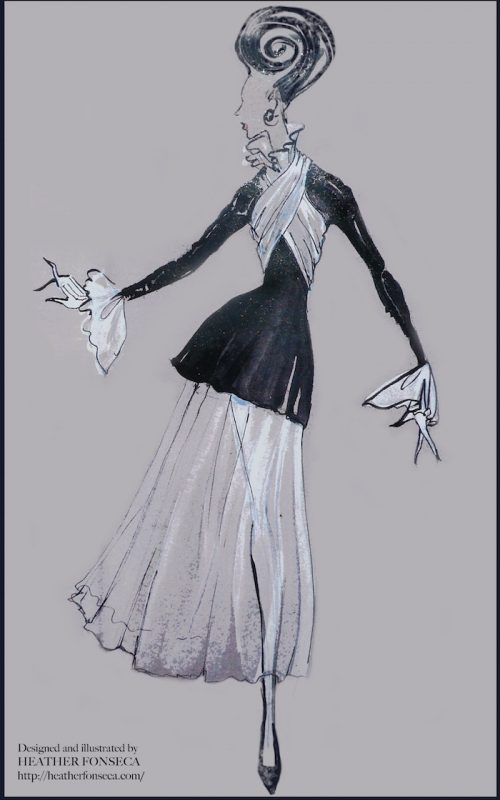 Fashion Illustration - Black and White Dress