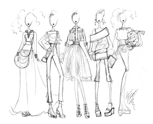 Quick sketches of a fashion doll collection - heather Fonseca