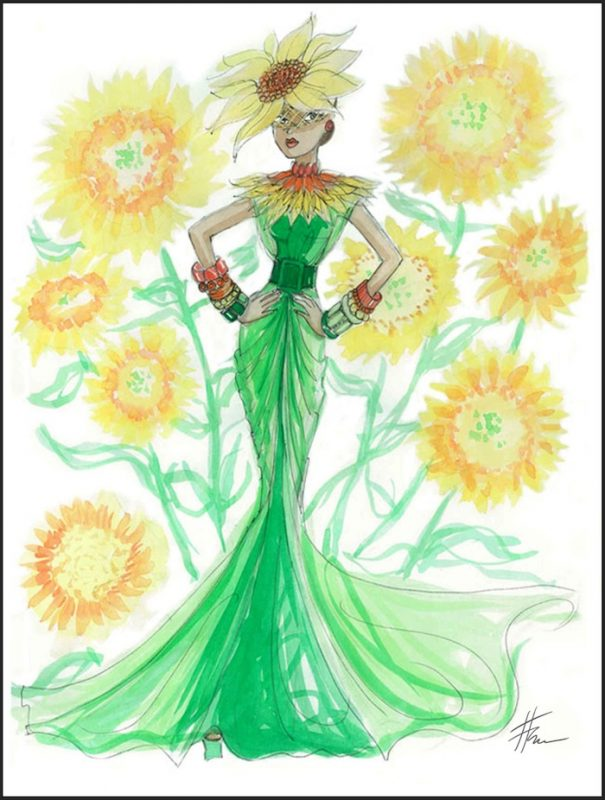 Sunflower floral fashion illustration by Heather Fonseca