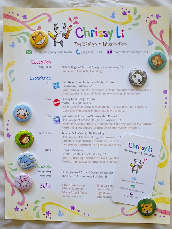 Chrissy Li's toy design and illustration resume