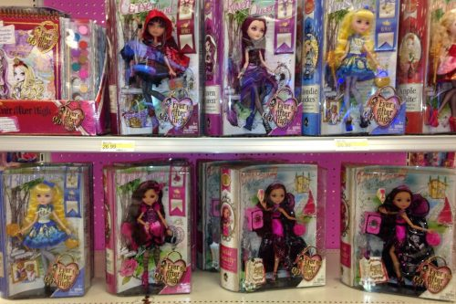 Ever After High dolls on display