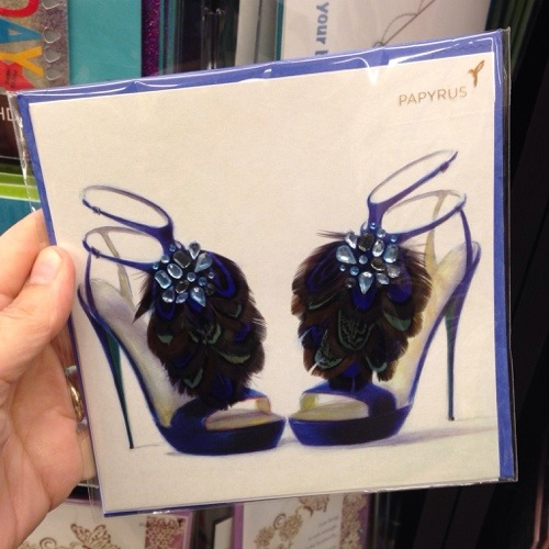 Fashionable greeting cards: feathered shoes