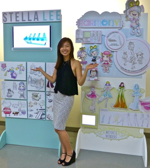 Stella Lee shows off her toy designs at the Otis Annual Exhibition 2015