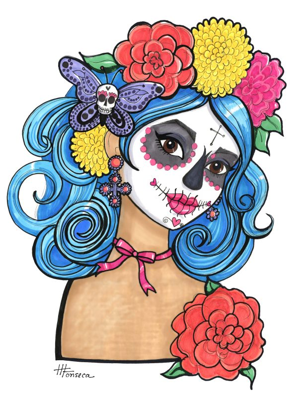 Sugar Skull Girl with Butterfly