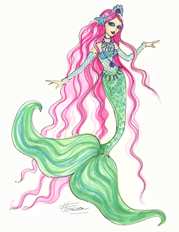 Mermaid with Pink Hair by Heather Fonseca