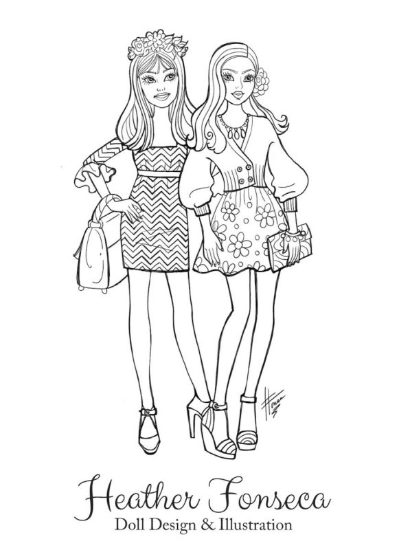 coloring pages two girls | Fashion Coloring Book Pages - Heather Fonseca