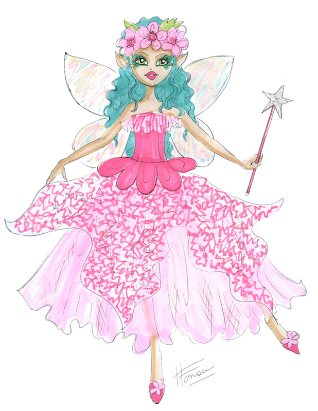 Flower Fairy with green hair by Heather Fonseca