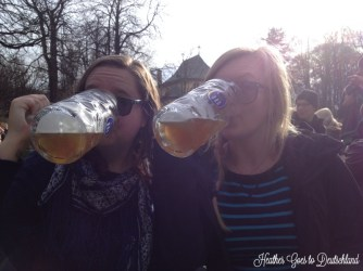 Holly and her friend enjoy a drink in the English Garden.