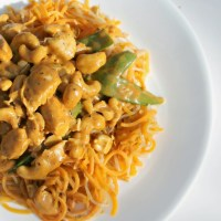 Curry Cashew Chicken over Sweet Potato Noodles