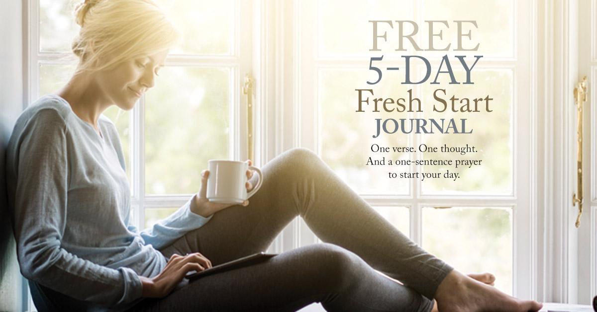 Woman drinking coffee, reading. Title: 5-Day Fresh Start Journal