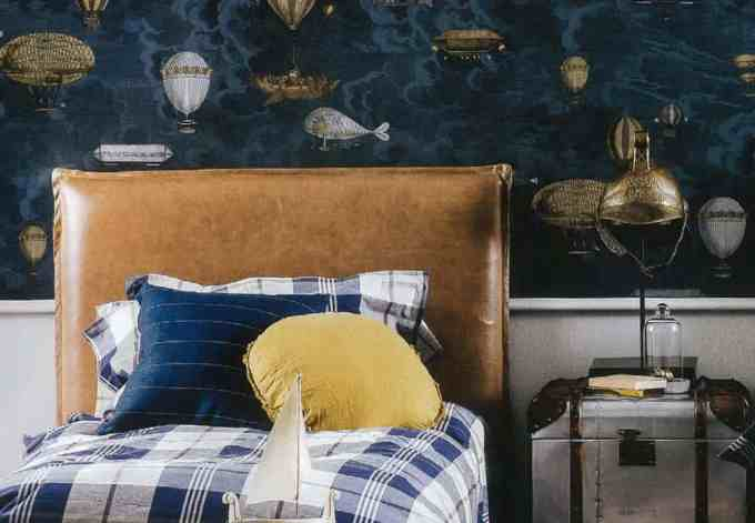 Rupert bedhead in Trench leather, kids bedroom