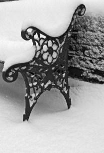 Bench in snowfall