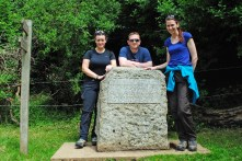 Day 1: The source marked by a stone. Adele, Rob and me ready to go!