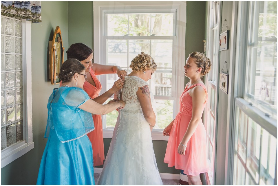 south jersey wedding photographer, bride getting ready portraits, lace back gown