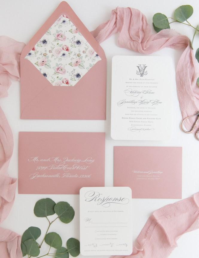 Victorian Duogram Letterpress Wedding Invitation