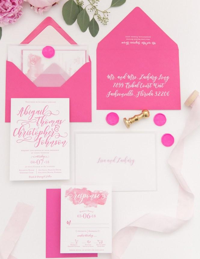 Hand Lettering Letterpress Wedding Invitation