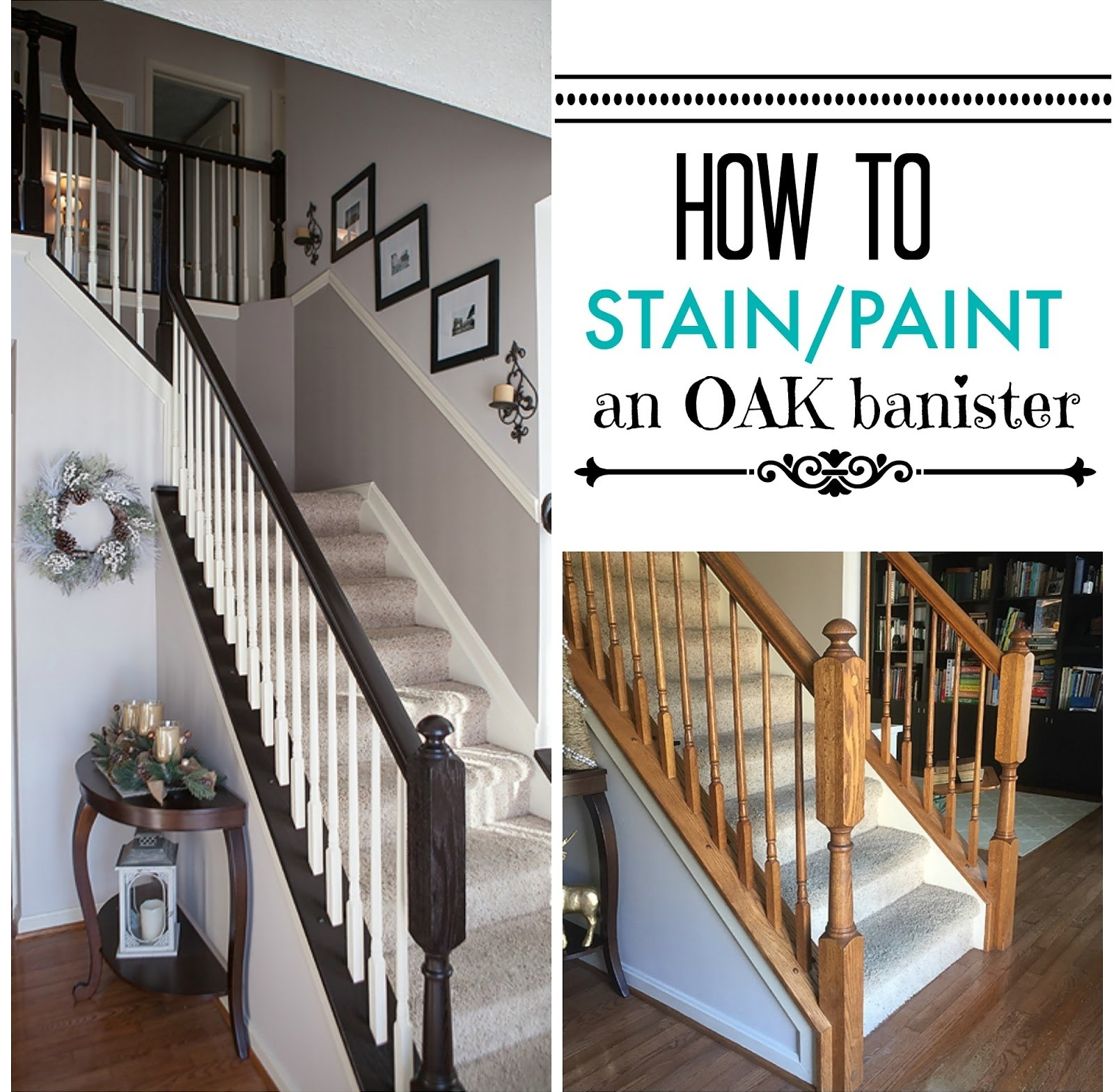 Diy How To Stain And Paint Oak Stair Banisters Heather O Steen | Painted And Stained Stairs | Easy Diy | Two Tone | Espresso Stained | Pinterest | Home