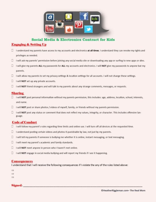 Social Media Contract for Kids Heather Riggleman