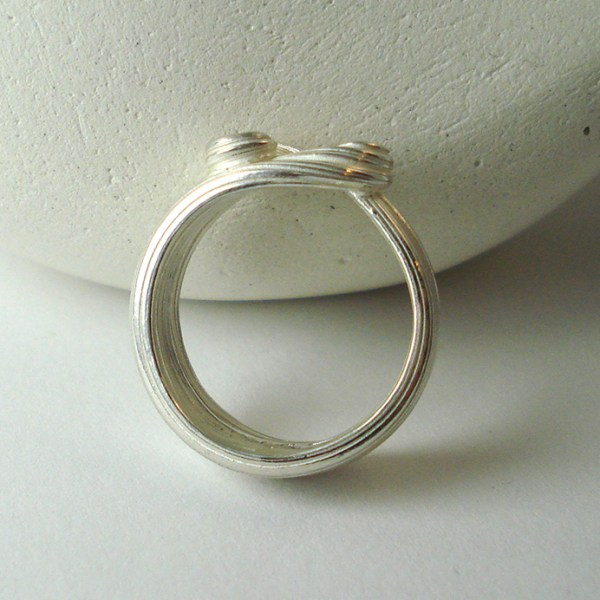 silver wave ring top view