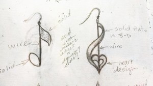 Initial sketch of the design for the music note earrings.