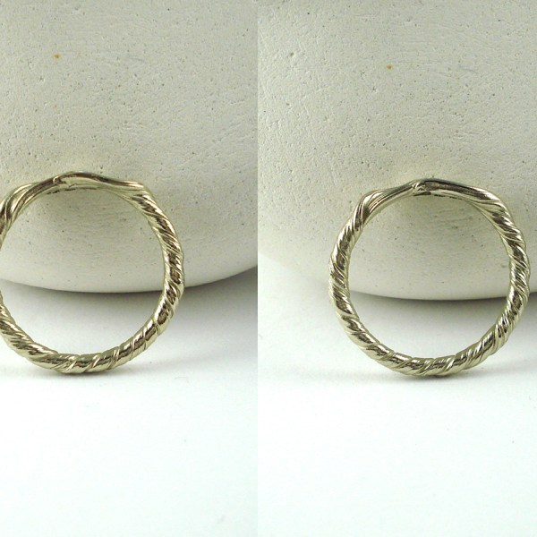mitsuro leaf wedding band top view