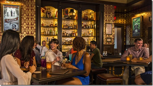 "AbracadaBar, a ""curious cocktail lounge,"" combines the Golden Age of Magic with the magic of Disney storytelling to bring a whimsical experience to Walt Disney World Resort guests. Located at Disney's BoardWalk, AbracadaBar serves up signature specialty drinks amongst enchanted show posters, mystifying mirrors and vintage props and tricks. It is open daily from 4 p.m. to midnight. (Matt Stroshane, photographer)"