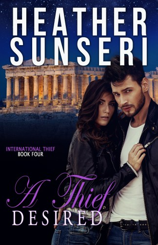 A Thief Desired is the fourth book in Heather Sunseri's International Thief series. A romantic suspense, thriller romance, this novel will keep you up all night.