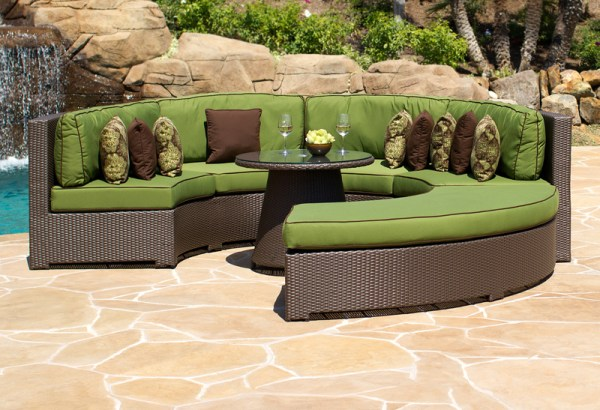 curved outdoor sectional patio furniture Curved Wicker Outdoor Sectional Lansing, MI | Heat'n Sweep
