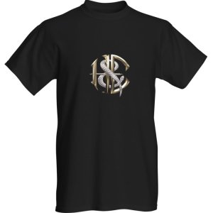 Mens Heaven and Earth black rock T-Shirt with H&E logo on front and back