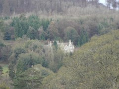 St Peter's Grange at Prinknash Abbey on the side of the hill, sheltered by trees