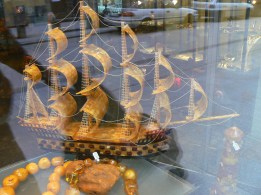 Model Amber ship in a shop window in Krakow, Poland