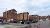 long shot of warehouses