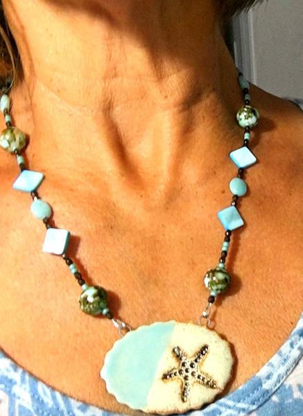 Aromatherapy necklace blue starfish Pendant
