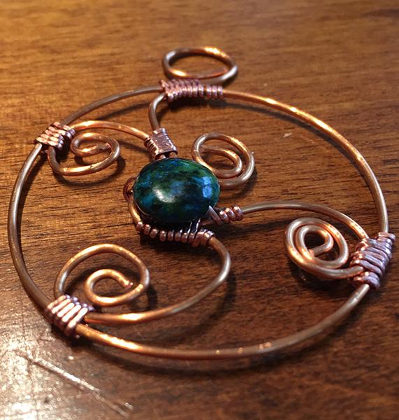 Ohm pendant copper and chrysocolla