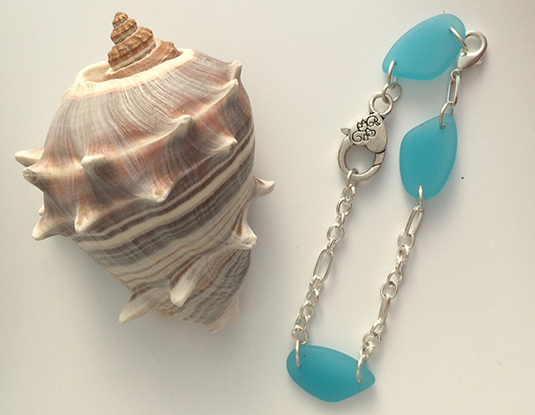 Sea glass and silver anklet bracelet