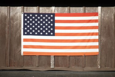 On The Barn. An American Flag